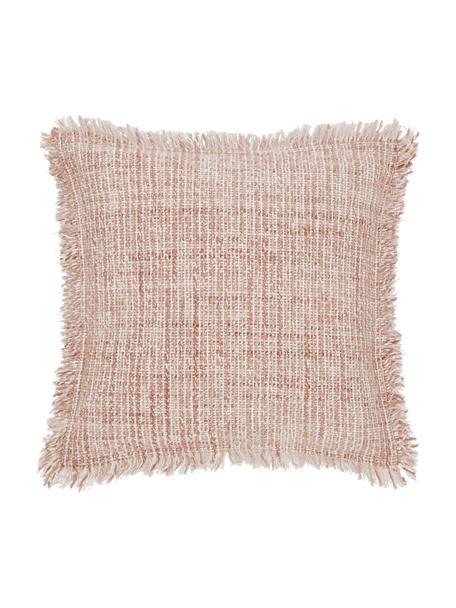 Bouclé-Kissenhülle Bounce mit Fransen, Vorderseite: 67% Baumwolle, 33% Acryl, Rückseite: 100% Baumwolle, Weiß,Terrakotta, 45 x 45 cm
