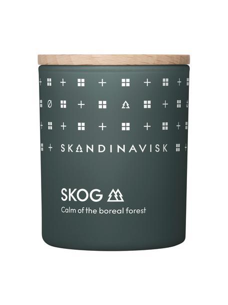 Geurkaars Skog (dennennaalden, dennenappels, berkensap), Houder: glas, Deksel: berkenhout, Doos: karton, Donkergroen, 6 x 8 cm
