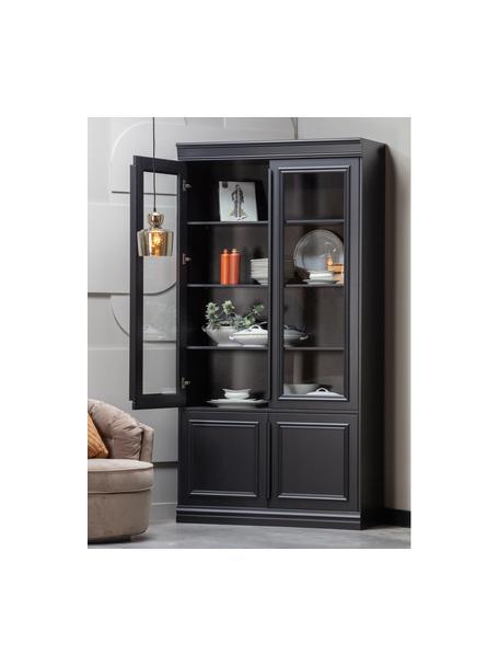 Zwarte vitrinekast Organize, Frame: massief grenenhout, gelak, Handvatten: gecoat metaal, Zwart, 110 x 215 cm