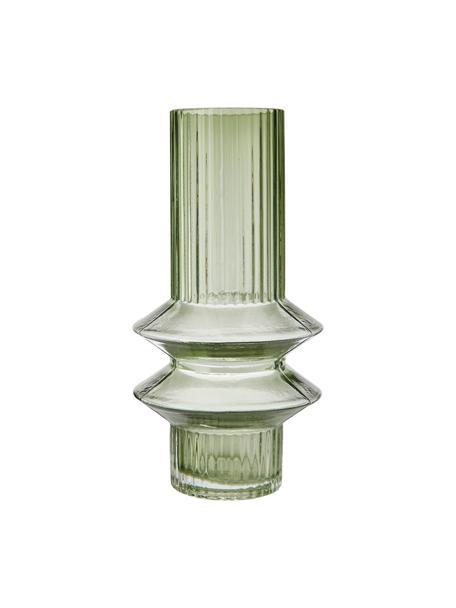 Vaso di design moderno in vetro verde Rilla, Vetro, Verde, Ø 10 x Alt. 21 cm