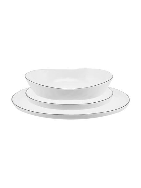 Set 12 piatti fatti a mano con bordo nero per 4 persone Salt, Porcellana, Bianco latteo, nero, Set in varie misure