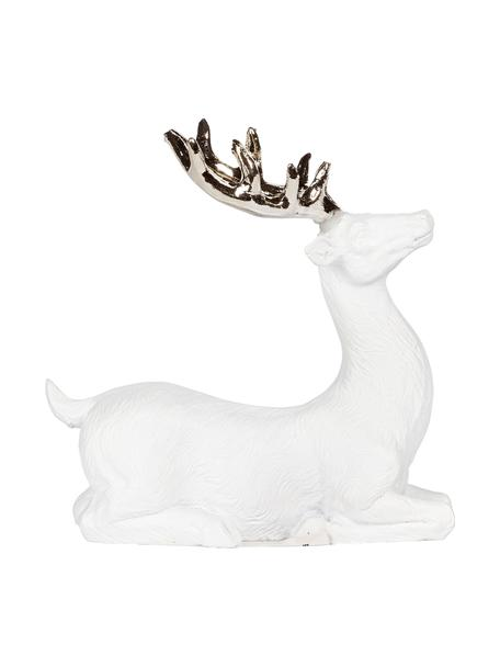 Handgefertigter Deko-Hirsch Deer H 9 cm, Polyresin, Weiss, Goldfarben, 9 x 9 cm