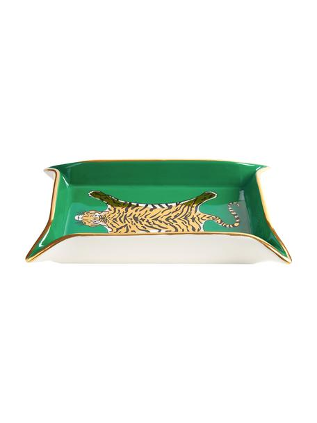 Ciotola Tiger, Porcellana, accenti dorati, Interno: verde, oro, beige Esterno: bianco, L 18 x P 13 cm