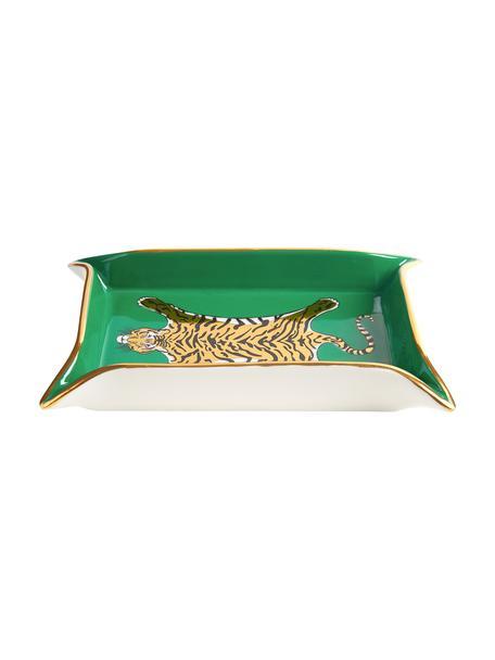 Schaal Tiger, Porselein, vergulde accenten, Binnenkant: groen, goud, beigetinten Buitenkant: wit, B 18 x D 13 cm