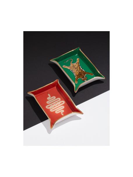 Miska Tiger, Porcelana, pozłacane akcenty, Wewnątrz: zielony, złoty, beżowy Na zewnątrz: biały, 18 x 13 cm