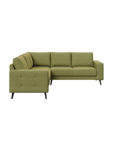 Sofa narożna Fynn, Tapicerka: 100% poliester z uczuciem, Stelaż: drewno liściaste, drewno , Nogi: drewno lakierowane Dzięki, Oliwkowy zielony, S 234 x G 234 cm