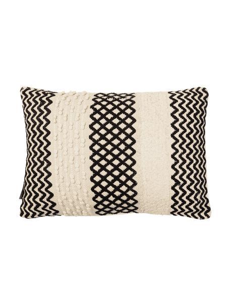 Cuscino con imbottitura Loa, 100% cotone, Color crema, nero, Larg. 40 x Lung. 60 cm