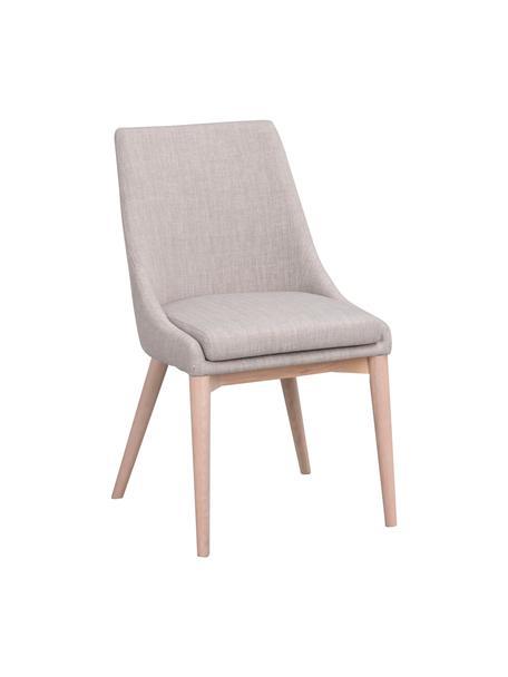 Gestoffeerde stoel Bea in lichtgrijs, Bekleding: 100% polyester, Frame: metaal, multiplex, Poten: eikenhout, massief, Lichtgrijs, eikenhoutkleurig, 51 x 61 cm