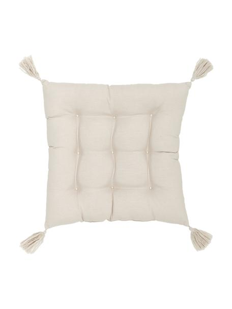 Cojín de asiento con borlas Ava, Funda: 100%algodón, Beige, 40 x 40 cm