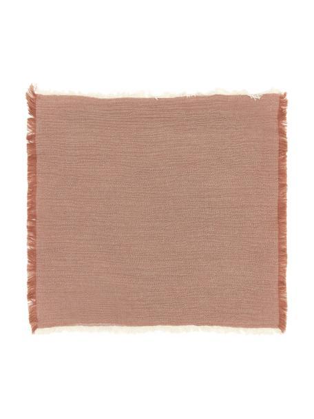 Stoffen servetten Layer in terracotta, 4 stuks, 100% katoen, Terracotta, 45 x 45 cm