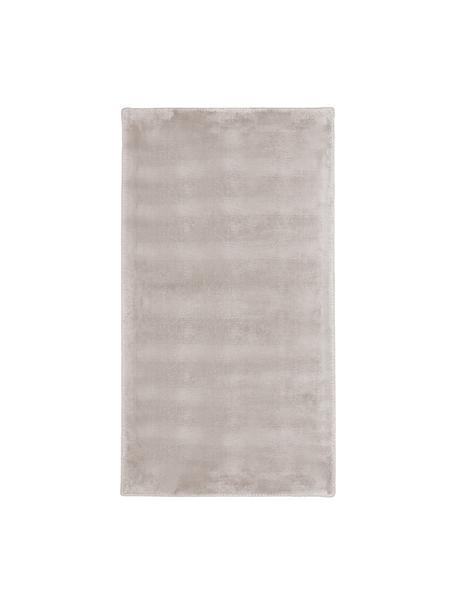Glanzend viscose vloerkleed Grace in premium kwaliteit, extra zacht, Bovenzijde: 100% viscose, Onderzijde: 100% polyester, Taupe, B 80 x L 150 cm (maat XS)