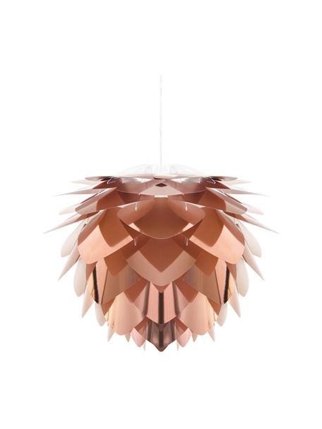 Set lampada a sospensione Silvia, Paralume: polipropilene, Baldacchino: materiale sintetico, Ramato, bianco, Ø 32 x Alt. 25 cm