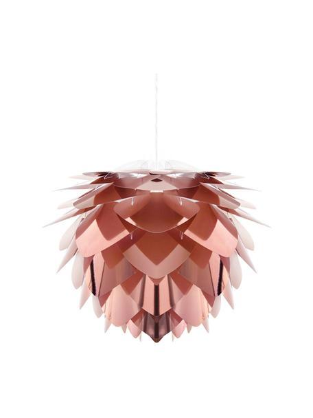 Lámpara de techo Silvia, kit de montaje, Pantalla: polipropileno, Anclaje: plástico, Cable: cubierto en tela, Cobre, blanco, Ø 32 x Al 25 cm