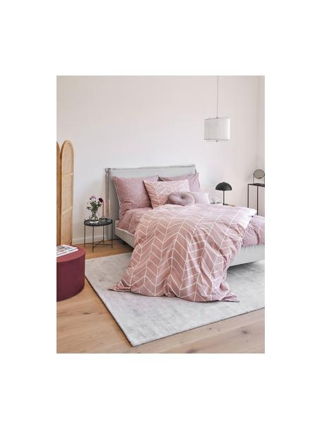 Pościel z bawełny Mirja, Brudny różowy, kremowobiały, 135 x 200 cm + 1 poduszka 80 x 80 cm