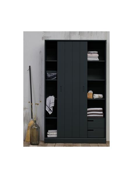 Kast Move met 1 schuifdeur in zwart, Gelakt grenenhout, Zwart, 120 x 200 cm