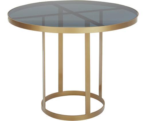 Runder Glas-Esstisch Marika mit goldfarbenen Gestell