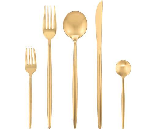 Goldfarbenes Besteck-Set Kaylah aus Edelstahl, in verschiedenen Setgrößen
