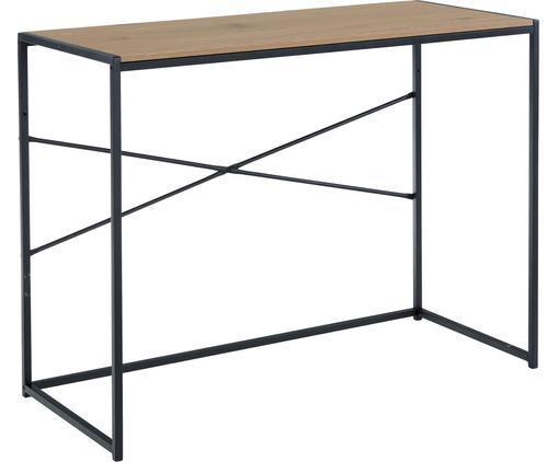 Schmaler Schreibtisch Seaford aus Holz und Metall