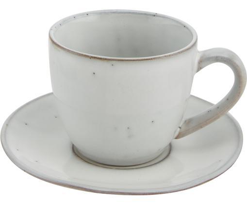 Handgemachte Tasse mit Untertasse Nordic Sand aus Steingut