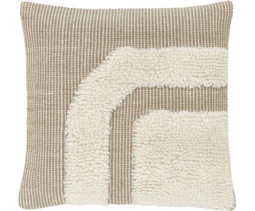 Handgewebte Kissenhülle Laine in Beige/Cremeweiß mit kuschligem Muster