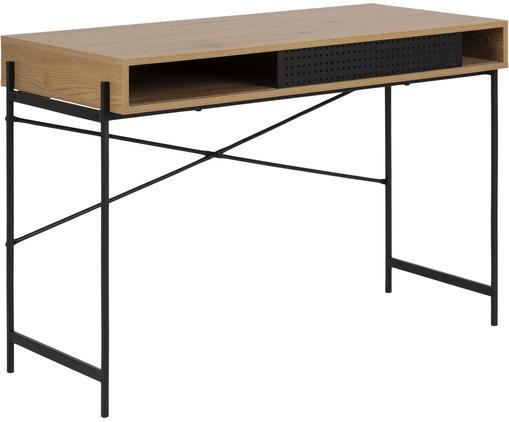 Schmaler Schreibtisch Angus aus Wildeichenfurnier