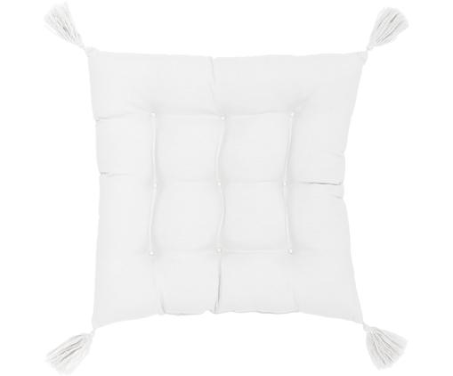Sitzkissen Ava in Weiß mit Quasten