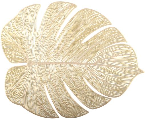 Goldene Kunststoff-Tischsets Leaf in Blattform, 2 Stück