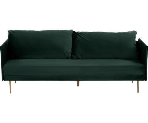 Samt-Schlafsofa Lauren in Dunkelgrün mit Metall-Füßen, ausklappbar