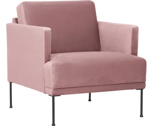 Samt-Sessel Fluente in Rosa mit Metall-Füßen