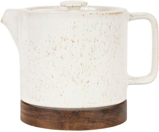 Kleine Steingut Teekanne Nordika mit Akazienholzsockel, 700 ml