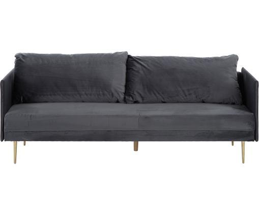Samt-Schlafsofa Lauren in Grau mit Metall-Füßen, ausklappbar