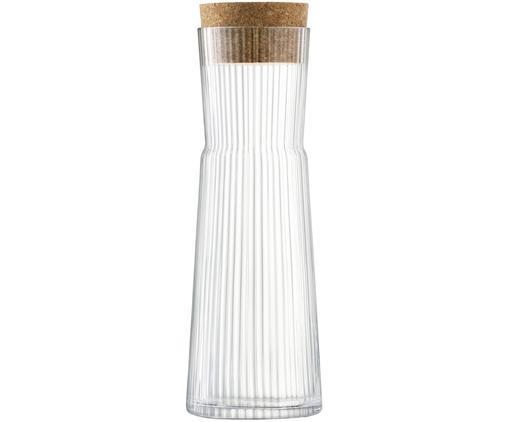 Glaskaraffe Gio Line mit Rillenrelief und Korkverschluss, 1.35 L