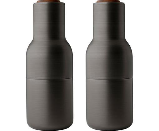 Designer Salz- & Pfeffermühle Bottle Grinder in Anthrazit mit Walnussholzdeckel