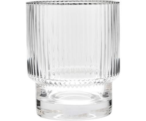 Handgefertigte Wassergläser Minna mit Rillenrelief und Silberrand, 4 Stück