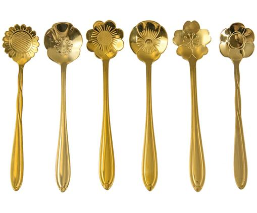 Goldfarbenes Teelöffel-Set Flower, 6er-Set