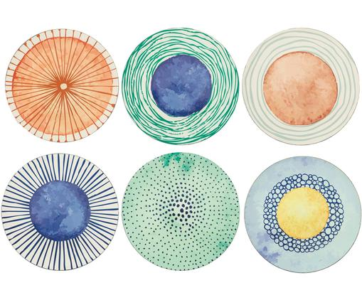 Kunststoff-Platzteller Marea mit bunten Designs, 6er-Set