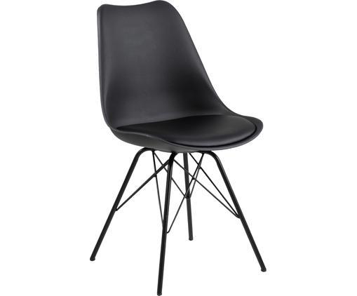 Esszimmerstühle Eris mit gepolsteter Sitzfläche in Schwarz, 2 Stück