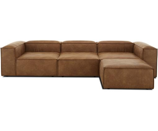Modulares Sofa Lennon (4-Sitzer) mit Hocker in Braun aus recyceltem Leder