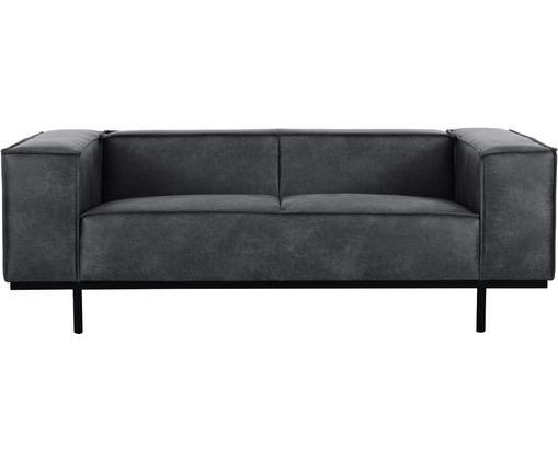 Leder-Sofa Abigail (2-Sitzer) in Dunkelgrau mit Metall-Füßen