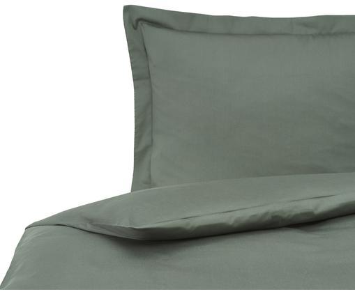Satin-Bettwäsche Premium aus Bio-Baumwolle in Dunkelgrün mit Stehsaum