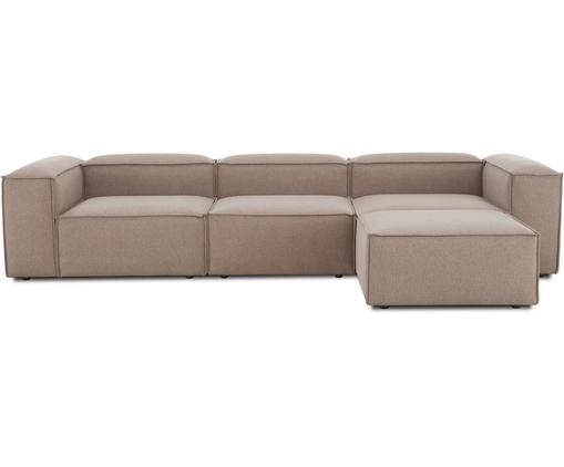 Modulares Sofa Lennon (4-Sitzer) mit Hocker in Braun