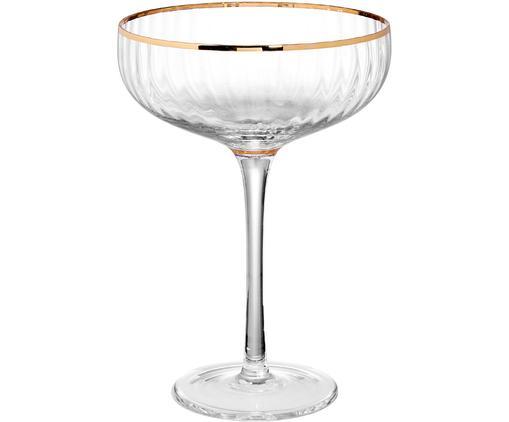 Große Champagnerschalen Golden Twenties mit Goldrand, 2 Stück