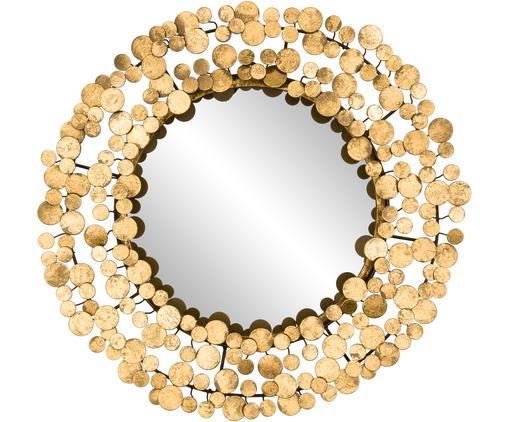 Runder Wandspiegel Penny mit gebürstetem Goldrahmen