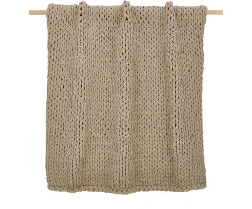 Handgemachte Grobstrick-Decke Adyna in Beige