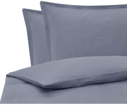 Gewaschene Leinen-Bettwäsche Nature in Blau
