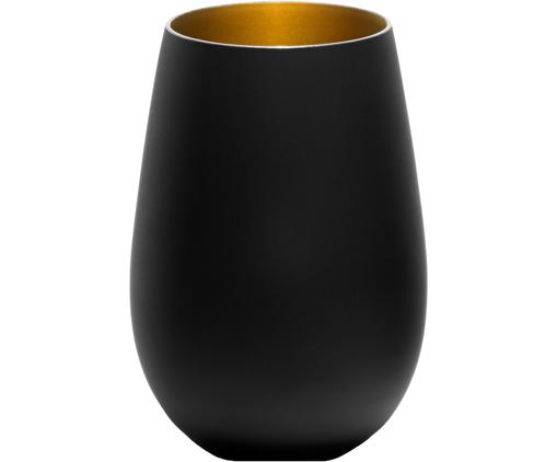 Kristall-Longdrinkgläser Elements in Schwarz/Gold, 6 Stück