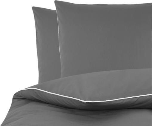 Baumwollperkal-Bettwäsche Daria in Grau mit Keder