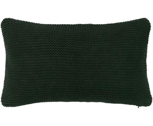 Strick-Kissenhülle Adalyn aus Bio-Baumwolle in Dunkelgrün