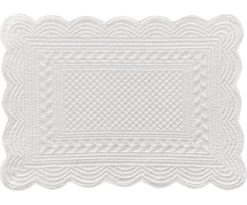 Baumwoll-Tischsets Boutis in Weiß, 2 Stück