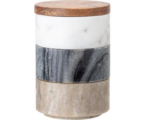 Kleine Aufbewahrungsdosen Gatherings aus Marmor Ø 8 x H 12 cm, 3er-Set